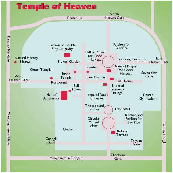 Схематическая карта Храма Неба