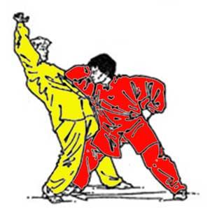 Приём дин чжоу - колющий, подпирающий удар локтём, одновременно с шагом чуан бу - визитная карточка стиля бацзицюань