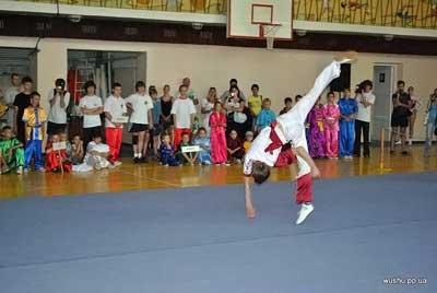Исполнение Тунда Евгением акробатического прыжка в ушу