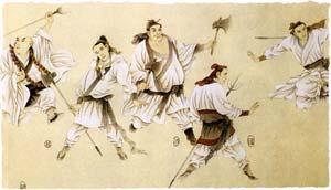 Воины с традиционным оружием Китая